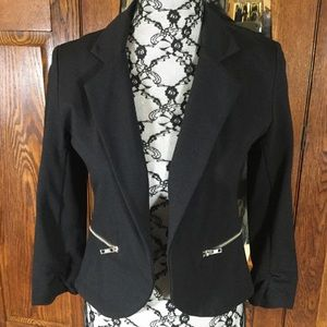 Bar III Black Crop Open Blazer Jacket